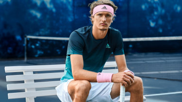 Alexander Zverev models the new Adidas x Parley range ahead of the Australian Open.