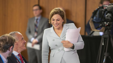Queensland Treasurer Jackie Trad briefs the media on her budget for 2019-20