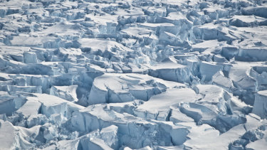 This 2010 photo provided by researcher Ian Joughin shows crevasses near the edge of Pine Island Glacier.