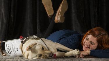 Mahnya Smith and Buffy the guide dog.