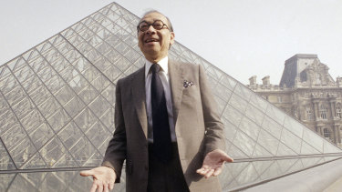 I M Pei designed the controversial faceted glass pyramid of the Louvre museum in Paris.