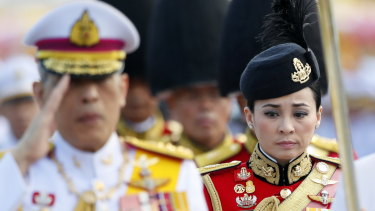 The new king's new wife: Suthida Tidjai on duty as commander of the king's bodyguards in Bangkok earlier this month.