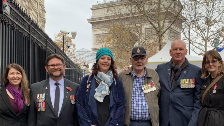 A group of Australian current and former Navy servicemen and women at the WWI armistice commemorations in Paris.