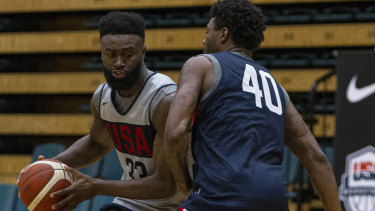 Jaylen Brown (left) and Celtics teammate Marcus Smart in action during a USA Basketball training session in Melbourne this week.