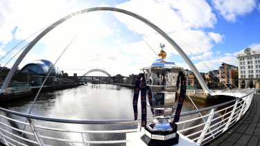 The trophy up for grabs in the 2021 Rugby League World Cup.