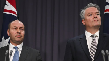 Treasurer Josh Frydenberg and Finance Minister Mathias Cormann have unveiled the best budget numbers in a decade ... but the same figures show the economy struggling
