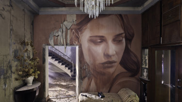 A painting of actor Lily Sullivan amid the artfully arranged abandoned interior of Burnham Beeches.