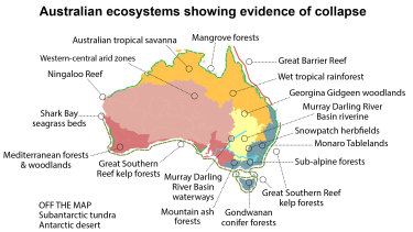 Australian scientists say there are 19 ecosystems that are collapsing.