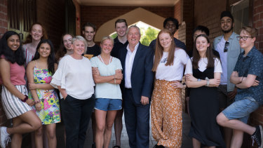 Ballarat Clarendon College principal David Shepherd with VCE students from the class of 2019 on results day last December.