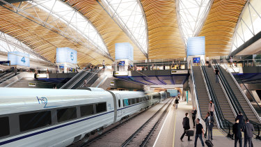 An artist impression of the high-speed rail network at Euston.