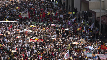Invasion Day marches in previous years have attracted thousands of protesters.