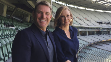 Shane Warne with 7.30's Leigh Sales at the Melbourne Cricket Ground.