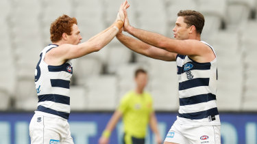 Gary Rohan (left) and Tom Hawkins of the Cats celebrate a goal.