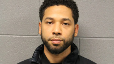 A booking photo of Jussie Smollett.
