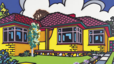 The real deal: Family home - Suburban exterior 1993 by Howard Arkley  (detail). synthetic polymer paint on canvas 203.0 x 257.0 cm. Monash University Museum of Art, Melbourne. Purchased, 1994