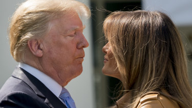 """Donald Trump with First lady Melania Trump during Melania's """"Be Best"""" initiative on Monday."""
