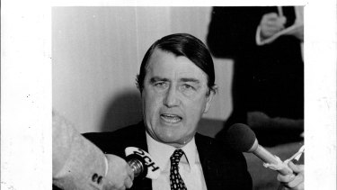 """""""A little angry,"""" said Neville Wran after the royal commission report exonerated him."""