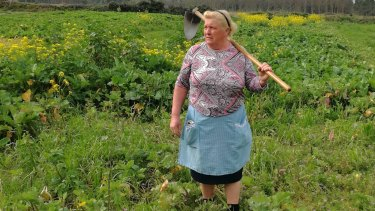 Hoedown: Dolores Leis in a field on her farm in Galicia in Spain.