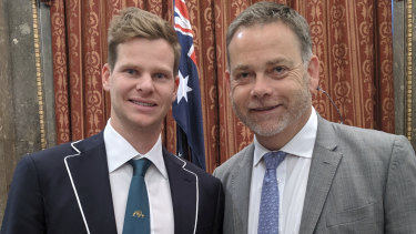 Australian batsman Steve Smith with UK Sports Minister Nigel Adams at a function last week.