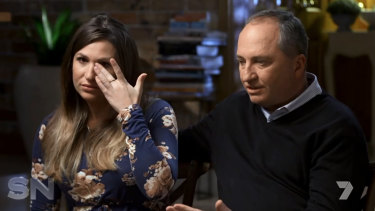 Vikki Campion wipes away a tear during her interview alongside Barnaby Joyce on the<i> Sunday Night</i> program.