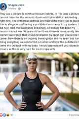 Shayna Jack posted about the doping test on social media.