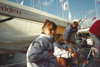 Tracy Edwards, left, skippers Maiden in the 1989-90 Whitbread round-the-world yacht race.