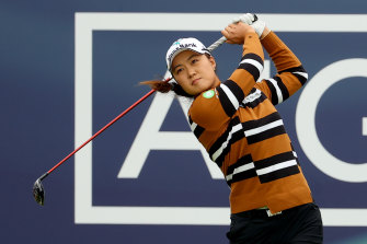 Minjee Lee tees off in the second round of the Women's British Open.