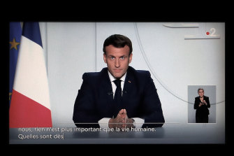 French President Emmanuel Macron during a national address in October. He is now reportedly considering another national lockdown to replace curfews and local restrictions.