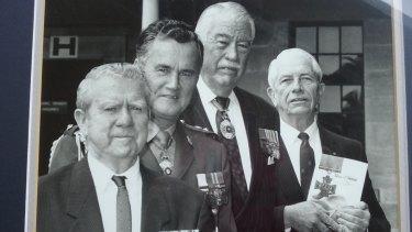 (LtoR) Edward Kenna VC, Michael Jeffrey (later GG), Sir Roden Cutler (former Governor NSW), Gordon Maitland.