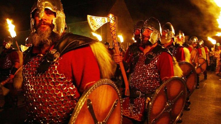 People dressed as Norsemen in the town of Lerwick, Shetland.