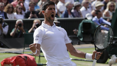 Serbia's Novak Djokovic pumps up the crowd during a thrilling semi-final.