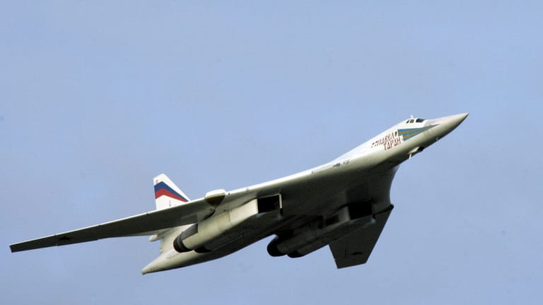 A supersonic Russian Tu-160 strategic bomber. US and Canadian fighters 'escorted' two of the Russian planes that entered an area patrolled by the Canadians.