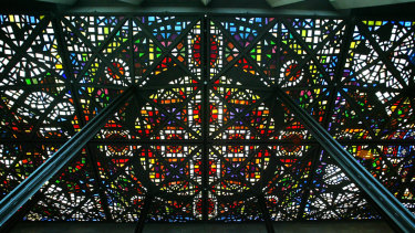 The Leonard French stained glass ceiling in the Great Hall of the NGV.