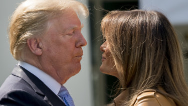 "Donald Trump with First lady Melania Trump during Melania's ""Be Best"" initiative on Monday."