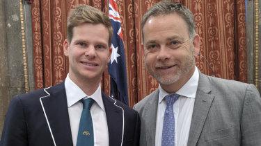 Australian batsman Steve Smith with UK Sports Minister Nigel Adams at a function last week.