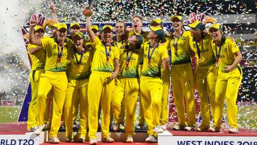 Winning culture: Australia's women's cricket team celebrate their World T20 victory.