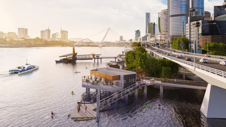 Brisbane's new Mangrove Walk beside the Riverside Expressway emerges.