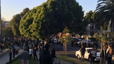 Police and angry skateboarders face off in San Francisco.