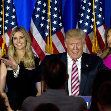 Donald Trump is joined by son-in-law Jared Kushner, daughter Ivanka Trump and wife Melania during his first presidential campaign in 2016.
