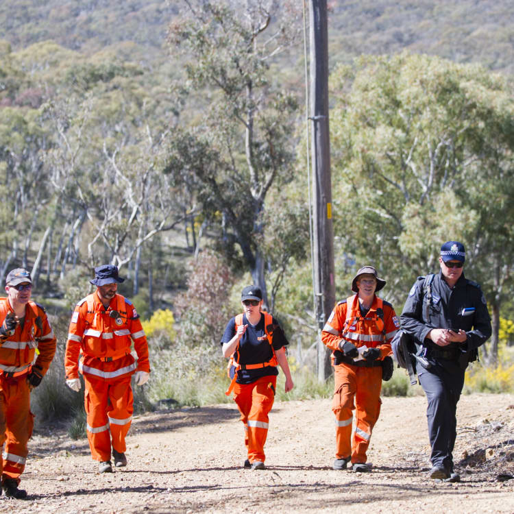 SES and ACT Police search bushland on the western side of Caswell Drive in Aranda for missing teenager Kathleen Bautista in 2015.