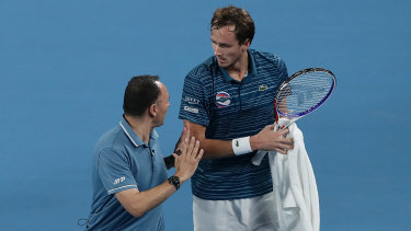 Daniil Medvedev of Russia is given a code violation warning by the umpire after exchanging words with Diego Schwartzman of Argentina.