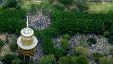 Vast crowds gather in Hyde Park, Sydney, to protest the imminent Iraq War on February 16, 2003