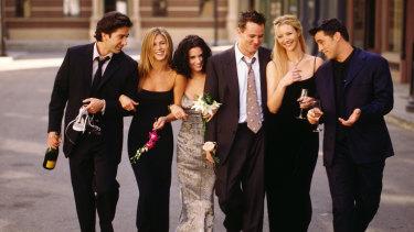 The cast of Friends: David Schwimmer as Ross Geller, Jennifer Aniston as Rachel Green, Courteney Cox as Monica Geller, Matthew Perry as Chandler Bing, Lisa Kudrow as Phoebe Buffay, Matt LeBlanc as Joey Tribbiani.