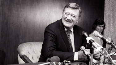 John Wayne at a press conference in Sydney in 1975