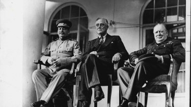From left: Joseph Stalin, Franklin Roosevelt and Winston Churchill in 1966.