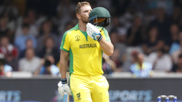 Hundred out out: Aaron Finch celebrates his ton at Lord's.