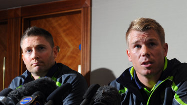 Turn on: Michael Clarke (left) says David Warner is a better player when he is aggressive.