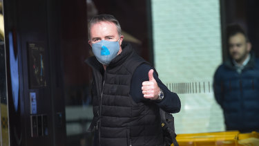 Patrick Enright leaves hotel quarantine in June.