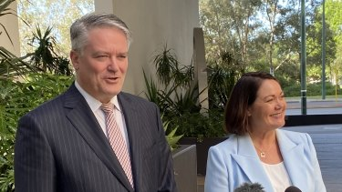 Finance Minister Mathias Cormann and WA Opposition Leader Liza Harvey.
