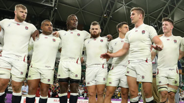 Job not done yet: England captain Owen Farrell addresses teammates after the victory over Australia.